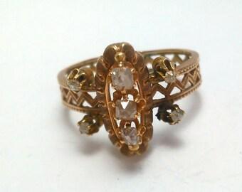 Anello borbonico oro rosso 9kt con 7 diamanti taglio antico