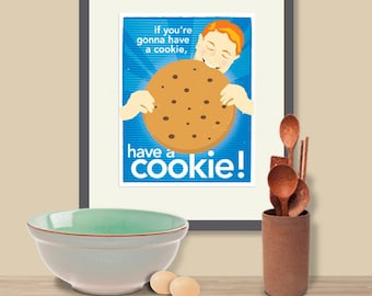 Have a Cookie!, Blue Kitchen Art, Whimsical Cookie Print, Retro Art