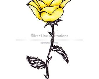 Yellow Rose (5X7 inch print of an original illustration)