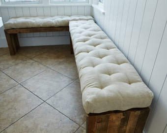 """Tufted Wool-Filled Bench Cushion / Window Seat Cushion / 3"""" thick / zippered cover / 100% pure new wool filling"""