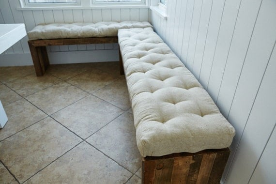3 tufted wool filled bench cushion window seat 100 - Made to measure bench seating ...