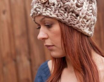 Hand Knit Womens Hat, Winter Wool Beanie, Handmade Wooden Button Detail, Custom Color