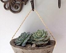 Sale* Modern Industrial Hanging Planter, Concrete Planter,  succulent pot, wall decor, desk organizer