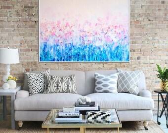 Abstract Canvas Print, Abstract Flower ,Giclee Print , Fine art Print , Modern Art ,  Contemporary flowers , Abstract Art Print ,  Pink blue