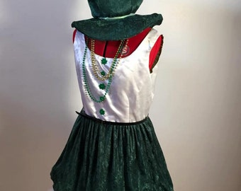 White and green St. Patrick's Day party dress with Novelty hat and Shamrocks