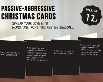 Passive-Aggressive Christmas Cards // 12pk Quirky Christmas Cards, Assorted Passive-Aggressive Messages