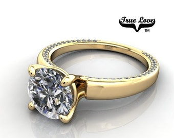 Moissanite Engagement Ring 14kt Yellow Gold, Forever One, Wedding Ring, Decorative Diamonds #6703