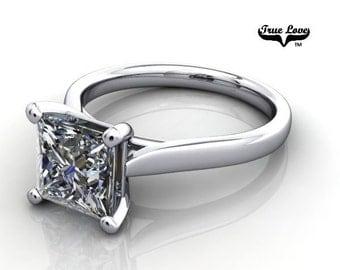 14 kt. White Gold  Solitaire 1.88 Carat Princess Brilliant Cut Moissanite Engagement Ring #6775