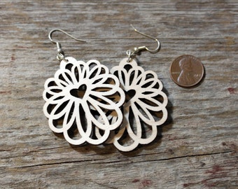 Laser cut wood Earrings - light weight, surgical steel ear wires, birthday gift, laser cut