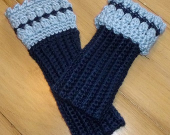 Shades of  Blue Crochet Wrist Warmers Fingerless Gloves