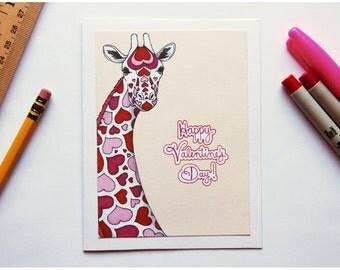 Heart Pattern Giraffe Valentine's Day Card