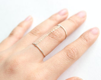 Sterling Silver Classic Slave Ring // Double Finger Ring // Chain Link Rings