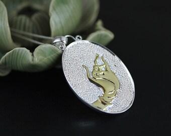 Dharmachakra-Mudra Handprint Pendant Cameo Disc Sterling Silver Pendant Gold-filled Pendant Women Pendant