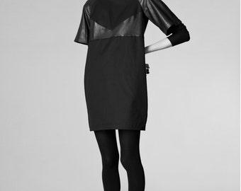black mini dress / organic cotton dress / black dress / leather dress / little black dress / black leather dress