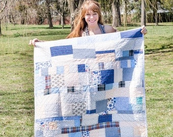 Hand Quilted Blue and Peach Patchwork Quilt
