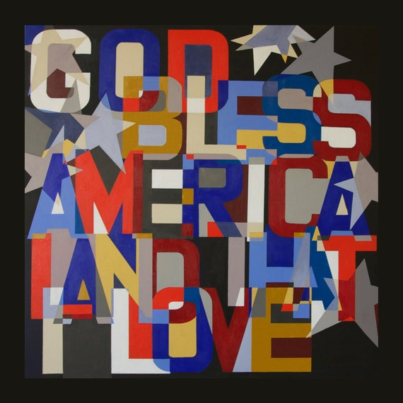 God Bless America - Christain Word Art - Matted Giclee Print 8x8 on Luster Paper