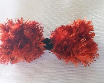 Handknit Small Red and Orange Fire Bow