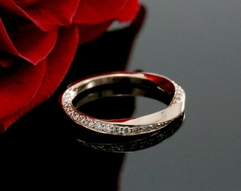 Rose Gold Unique Diamond Wedding Band, Swirl Design (available in white gold, yellow gold, platinum and other gems)
