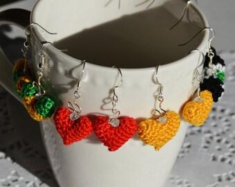 Lovely Heart shaped Crochet Earrings
