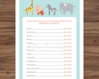 Who Knows Mommy Best Safari Animals / Jungle Animal Gender Neutral Baby Shower Game / Zoo Shower Game / Printable Digital / INSTANT DOWNLOAD