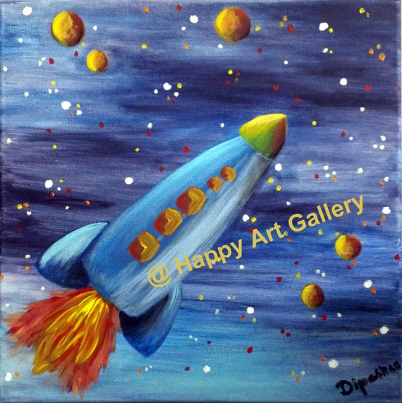 Rocket Baby Boy Space Nursery Decor Nursery Art Outer Space