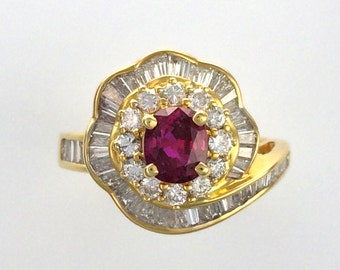 Vintage Oval Ruby & Diamond Ballerina Cocktail Ring - 18K Yellow Gold - July Birthstone
