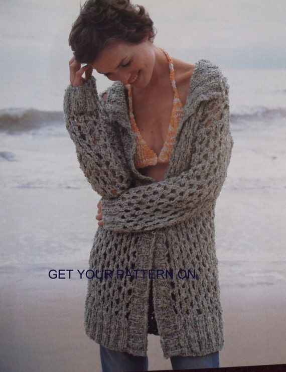 Knit Beach Cover Up Pattern : INSTANT DOWNLOAD PDF, Knitted Sweater, 2 designs, Beach cover-up, knit pull o...