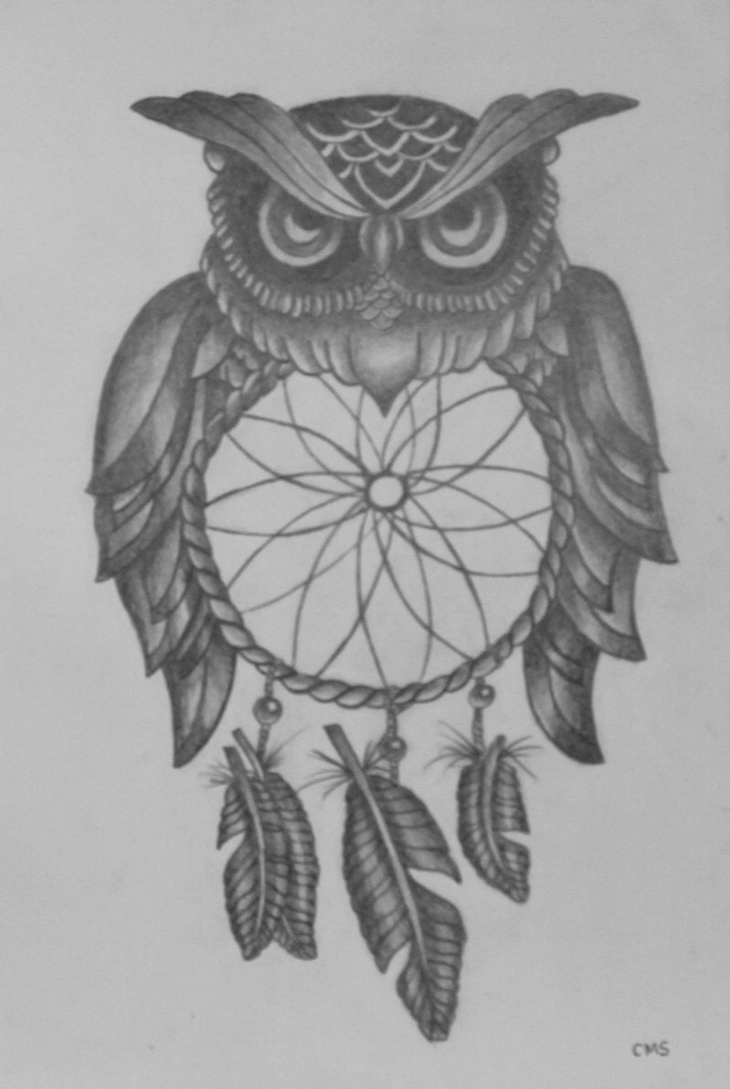 Owl dreamcatcher drawing - photo#15