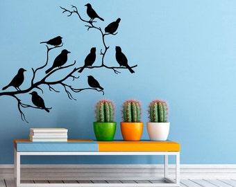 Birds on Branch Wall Decal Flock Of Birds Decals Vinyl Stickers Animals Interior Design Art Murals Housewares Bedroom Wall Decor (10b01s)