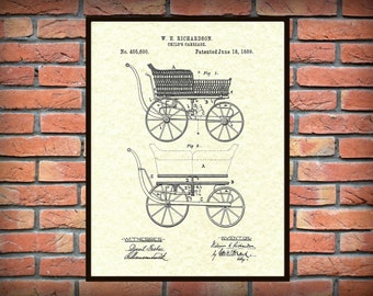Patent 1889 Baby Carriage - Art Print Poster Wall Art - Nursery Wall Art - Childrens Room Wall Art -  Play Room Art - Baby Shower Gift