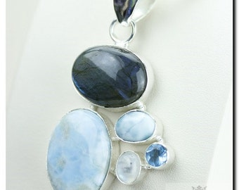 Made in Italy! Blue Fire Labradorite Larimar Blue Topaz 925 SOLID Sterling Silver Pendant + 4mm Snake Chain & FREE Worldwide Shipping p1861