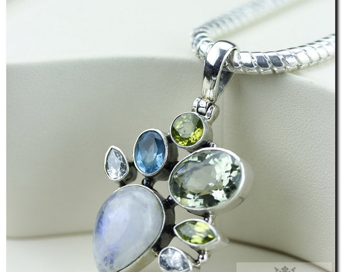 Made in Italy! AAA Prasiolite Rainbow Moonstone Blue Topaz 925 SOLID Sterling Silver Pendant + 4mm Snake Chain & FREE Worldwide Shipping