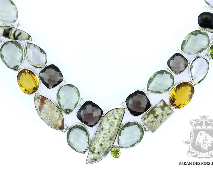 Ocean Jasper Smokey Topaz Citrine PRASIOLITE Green Amethyst 925 SOLID Sterling Silver Necklace