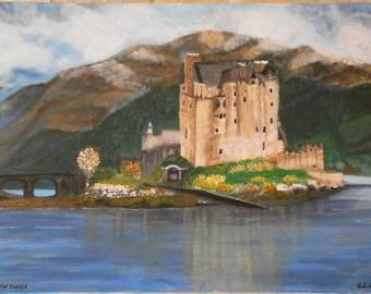 Large acrylic on canvas castle painting - Scottish landscape art - Eilean Donan Castle
