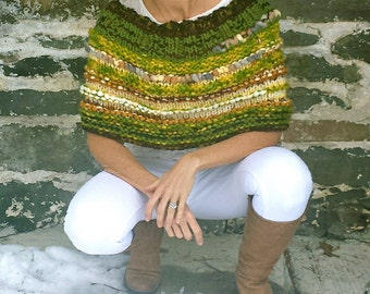 Fall shrug Womens shrug, American made Earth Girl's hand knit shrug in multi colored and textured yarn