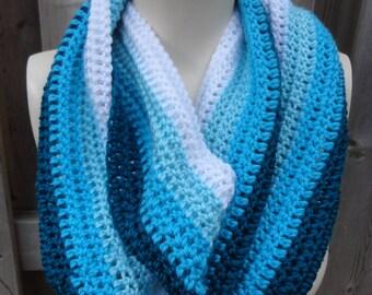 Ombre Blue Crochet Cowl