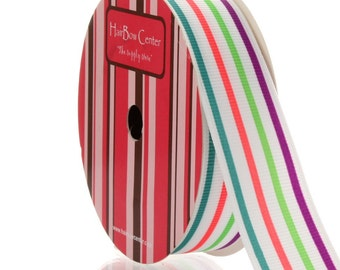 "7/8"" Bright Stripe Grosgrain Ribbon - 5yds"