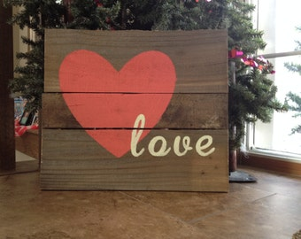 valentine pallet wood sign.