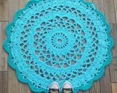 nursery decor - nursery rug - crochet doily rug - boy nursery - blue rug - floor rug - doilie floor rug - handmade doily crochet carpet