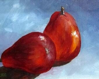 Perfect Pears, pear, still life, 8 x 6, original art, oil painting