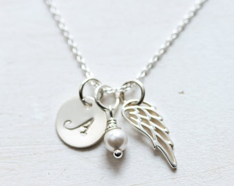 First Communion Gift, Confirmation Gift for Girl, Personalized Angel Wing Necklace, Gift for Goddaughter, Sterling Silver, Keepsake Necklace