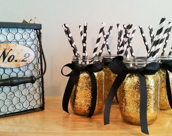 Mason Jars, Wedding Centerpiece, Gold Wedding Decor, Birthday Party Decor, Black and Gold, Graduation Party Decor, Home Decor, Set of 4