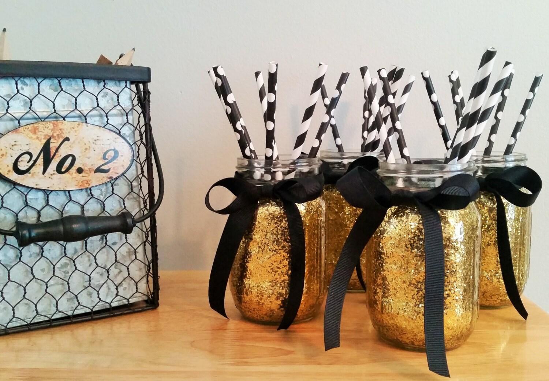 black and gold party decor mason jars wedding centerpiece zoom