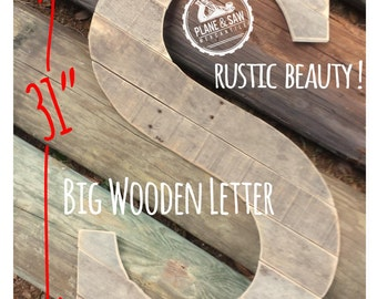 "31"" Tall Rustic Letter S; Guest Book,Big Wooden Letter,Rustic Wedding,Wedding Letter,Rustic Wood Letter,Rustic Wedding,Guestbook"