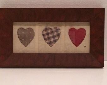 Vintage Handsewn framed art