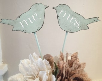 Love Bird Cake Toppers, Wedding Cake Toppers, Mr. Mrs. Cake Toppers, Wooden Cake Toppers, Rustic Cake Toppers, Rustic Wedding Decor,