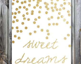 Sparkle Sweet Dreams Nursery Print | Gold | Sparkle Series | Art | 4x6 5x7 8x10 | Baby | Daughter | Metallics | Glitter