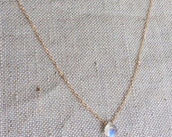 "Tiny Moonstone Necklace - Gold Moonstone Necklace - Rainbow Moonstone Necklace - Moonstone Jewelry - Small Gold Filled Necklace - 18"" Gold"