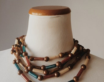 Signed Kate Hines Multi Strand Tribal Necklace