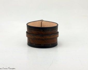 Brown leather Wristband - vegetal tanning